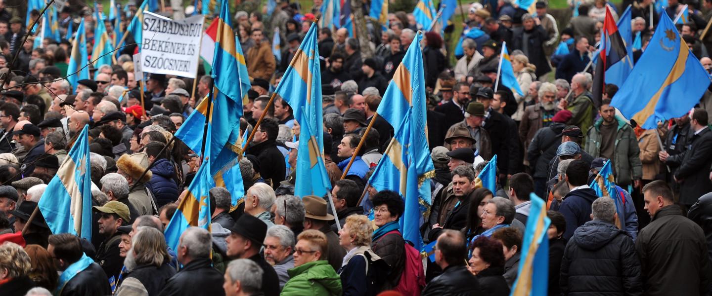 A Székely Nemzeti Tanács autonómia tüntetése Marosvásárhelyen