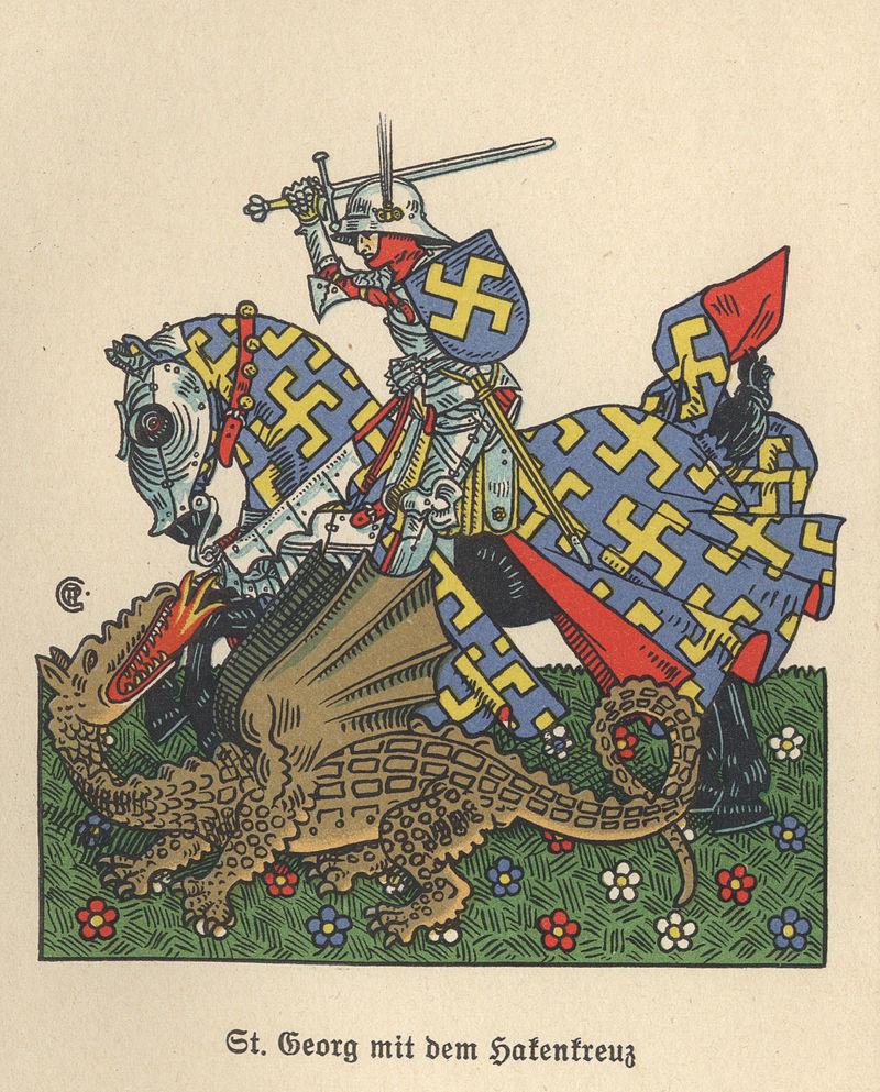Wikipedia-Gustav Adolf Cloß: A náci Szent György megöli a sárkányt (kivehető lap a könyvből)