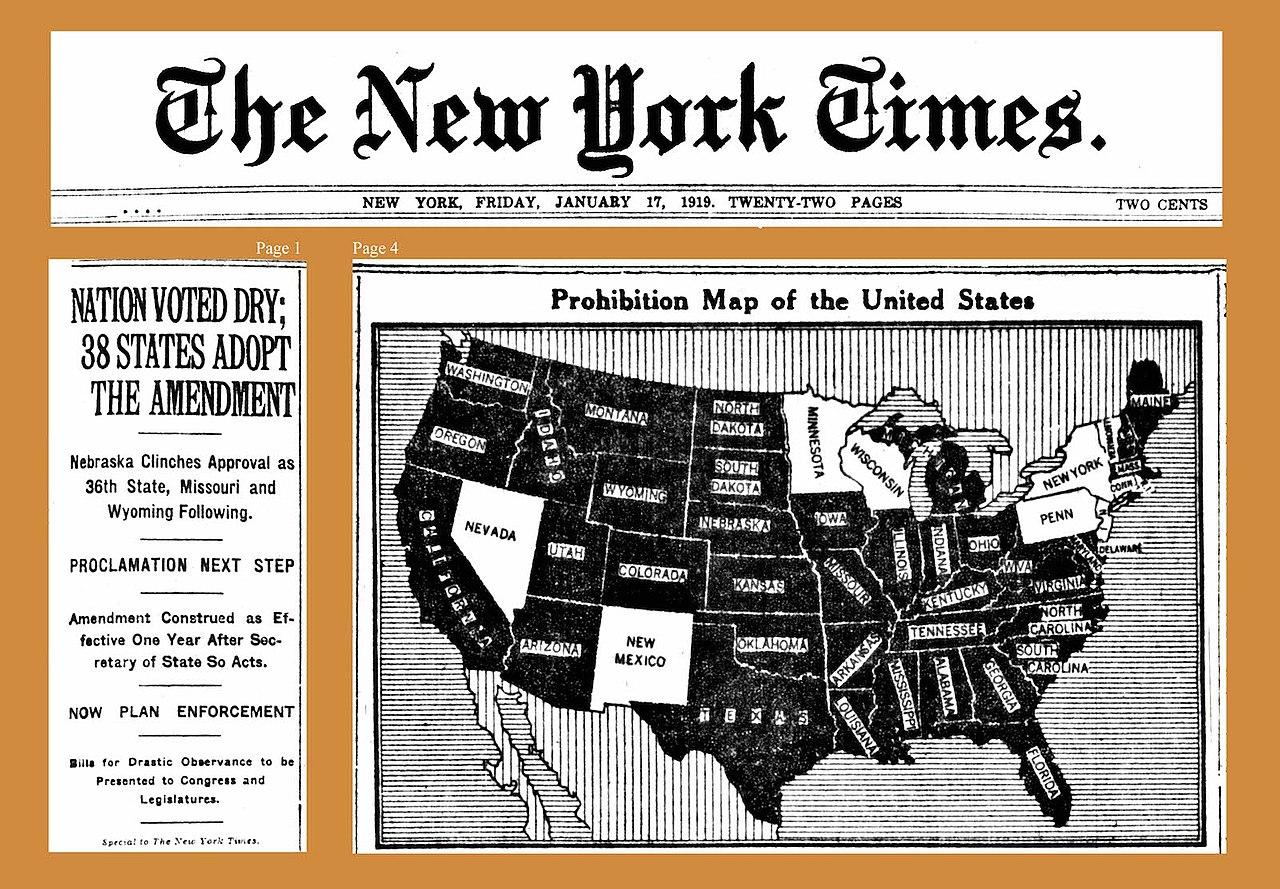 Wikipedia-A The New York Times címplapján az alkoholtilalmat bevezető államok