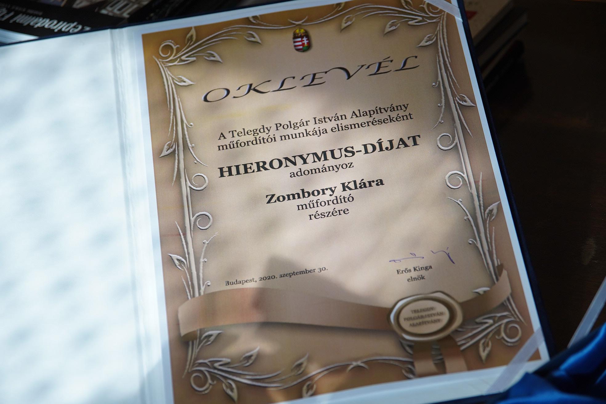 Vadócz Dávid-A Hieronymus-díjjal járó oklevél