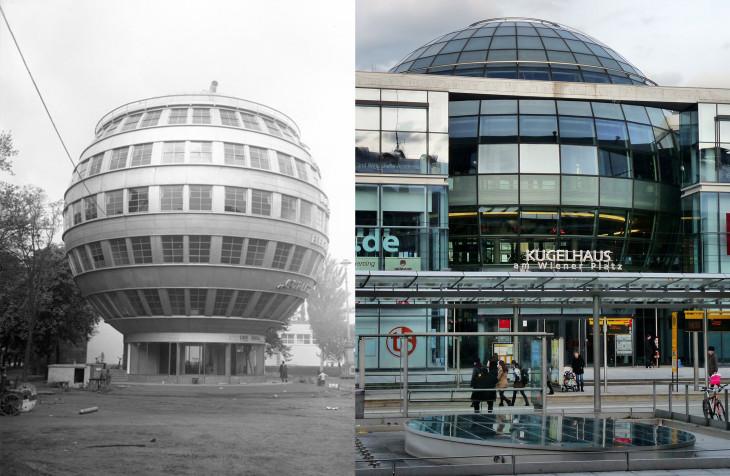 Bundesarchiv, unplash-A drezdai Gömbház 1930-ban és egy irodaház részeként a Gömbház analógiája ma
