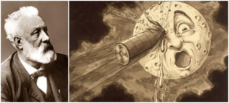 britannica/mafab.hu-Jules Verne és a regényt feldolgozó film egyik animációs jelenete. Utazás a Holdba (1902)
