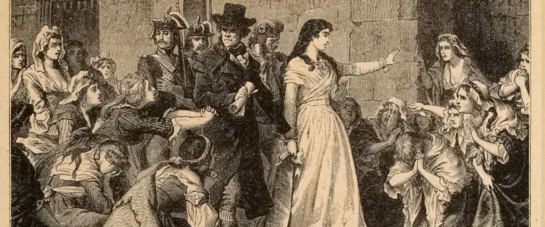 Madame Roland-t a Forradalmi Törvényszék elé vezetik
