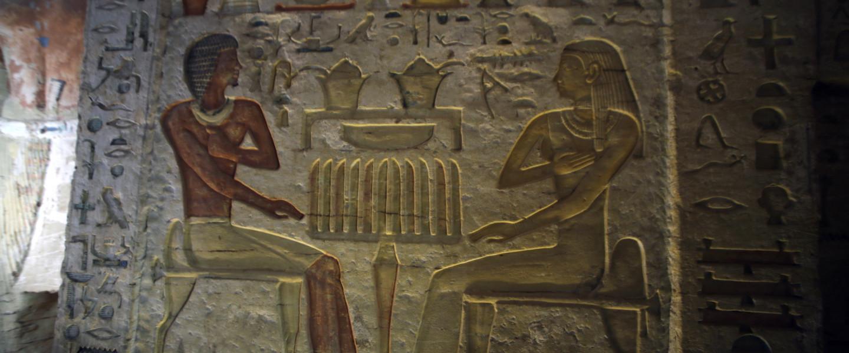 Falfestmény egy magas rangú, Vahtié nevű, királyi szolgálatban álló pap 4400 éves, közelmúltban felfedezett, érintetlen temetkezési helyén a Kairóhoz közeli szakkarai nekropoliszban 2018. december 15-én.