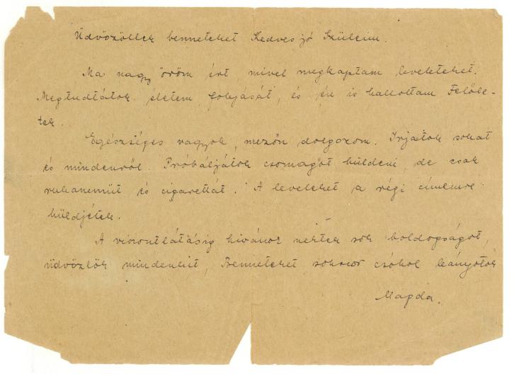 A GULÁG-okban Elpusztultak Emlékének Megörökítésére Alapítvány-Rohr Magdolna fogságból írt egyik levele