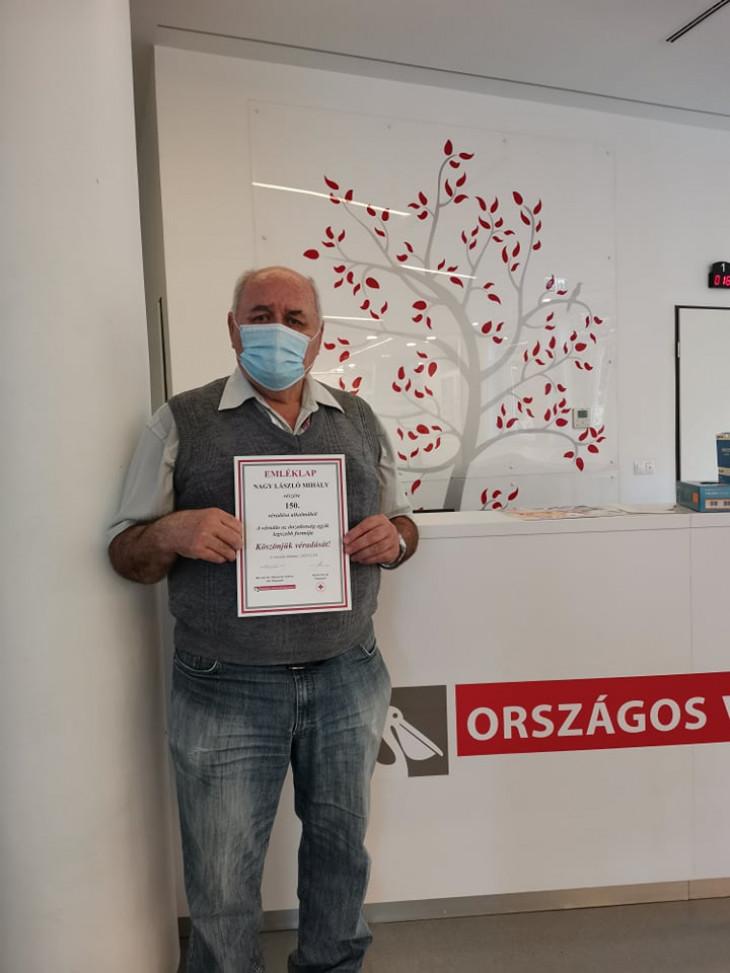 Országos Vérellátó Szolgálat-László, a 150-szeres véradó