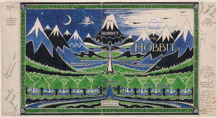 The Tolkien Trust-Tolkien saját készítésű könyvborítója a Hobbit kiadásához.